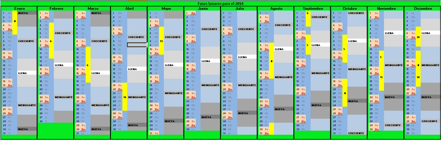 Puntitos en el cielo calendario lunar para 2014 for Calendario lunar de hoy