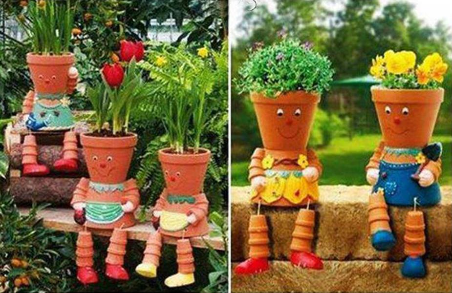 Amazing creativity clay pot flower people for Garden decoration with waste material