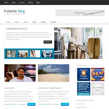 FolantisMag blogger template. seo blogger template. magazine style template blogspot. download 4 column footer blogger template