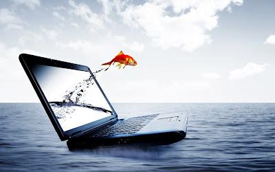 Pez saltando de una laptop hacia el mar - Imaginación