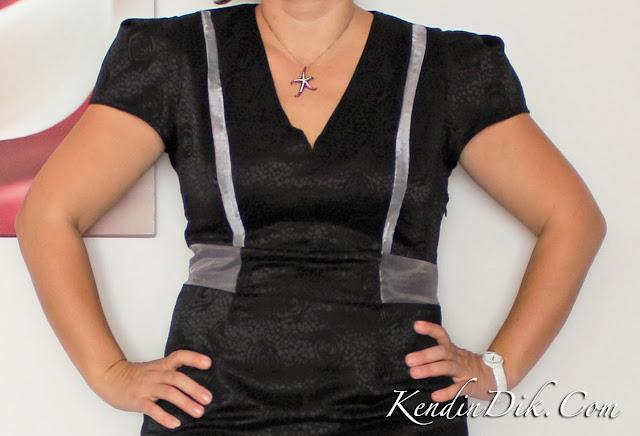 siyah elbise organze tasarım