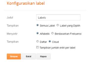 Cara Memasang Widget Label atau Kategori Postingan