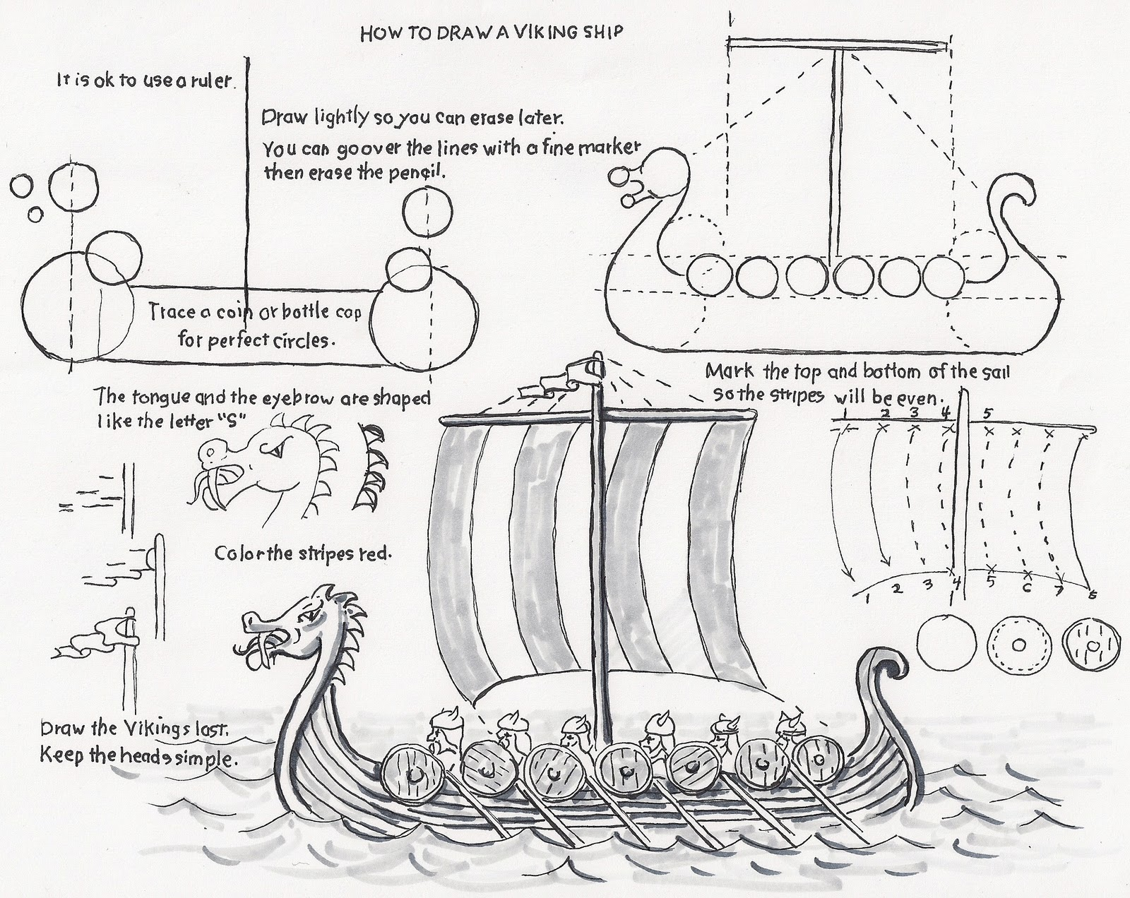 How to Draw Worksheets for The Young Artist: How to Draw a Viking Ship ...
