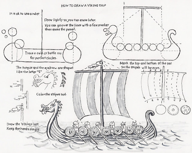 How to Draw Worksheets for The Young Artist: How to Draw a Viking Ship, a lesson for the Young ...