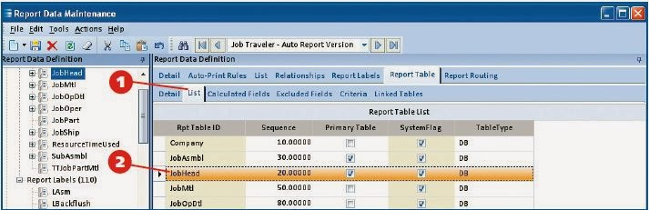 this selects the jobhead table on the report - Sql Report Writing