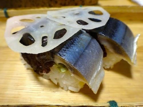 三陸秋刀魚岩手箱の秋刀魚蓮根のせ