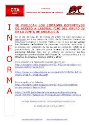 SE PUBLICAN LOS LISTADOS DEFINITIVOS DE ACCESO A LABORAL FIJO DEL GRUPO IV DE LA JUNTA DE ANDALUCIA
