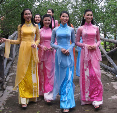 Model Vietnamese Woman Wearing Colorful Ao Dai In Lunar New Year