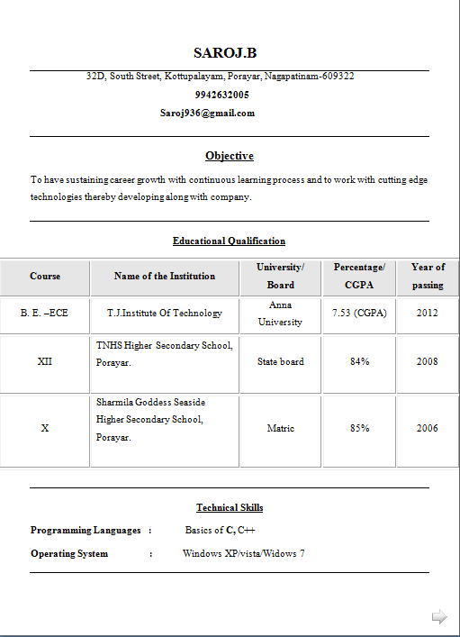 be ece fresher resume