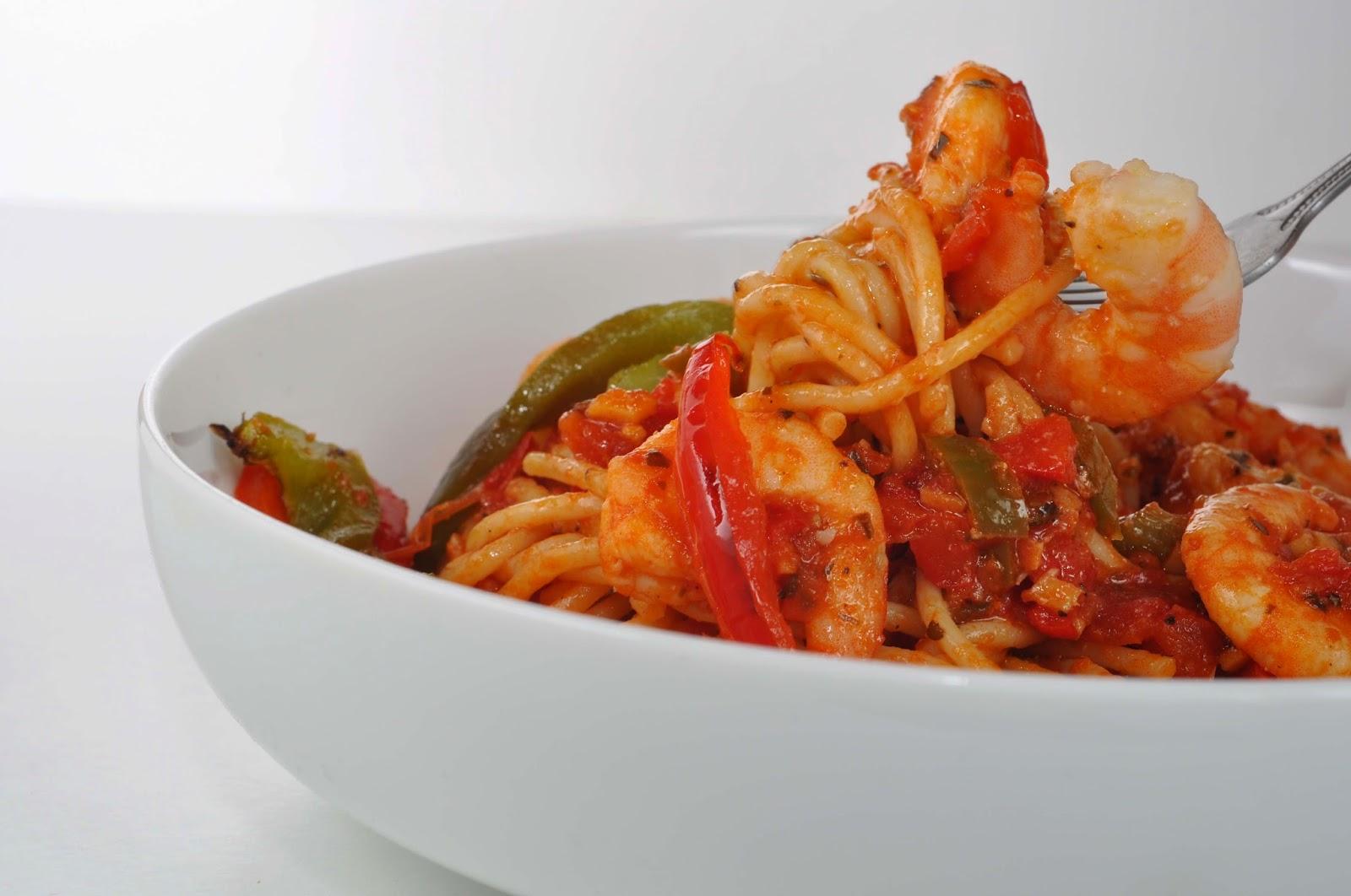 Roasted Pepper & Prawn Spaghetti ~ Simple Food