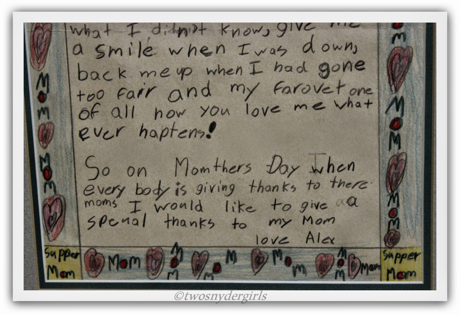 A child's Mother's Day Note to his Mother