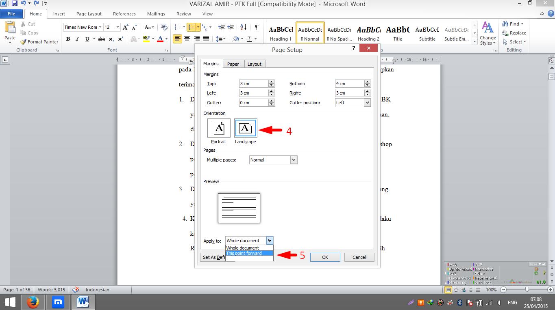 Cara Membuat Salah Satau Halaman atau Lebih Menjadi Landscape Pada Microsoft Office Word 2