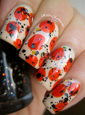Zoya Jacqueline with orange dots with Nail Lacquer UK Dog Days