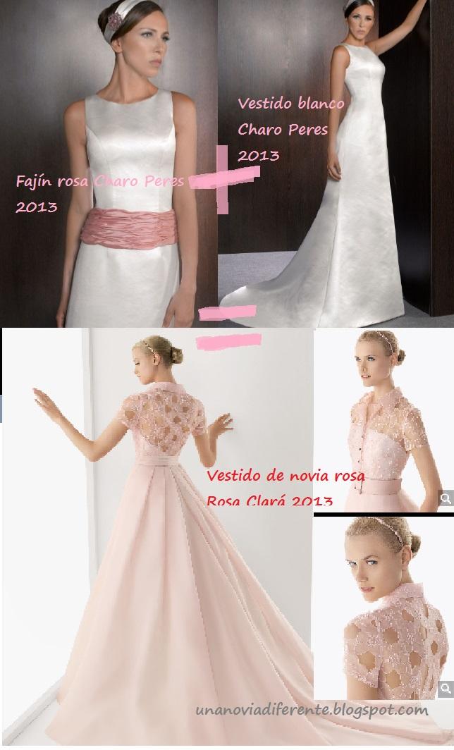 Vestidos de novia en rosa y blanco