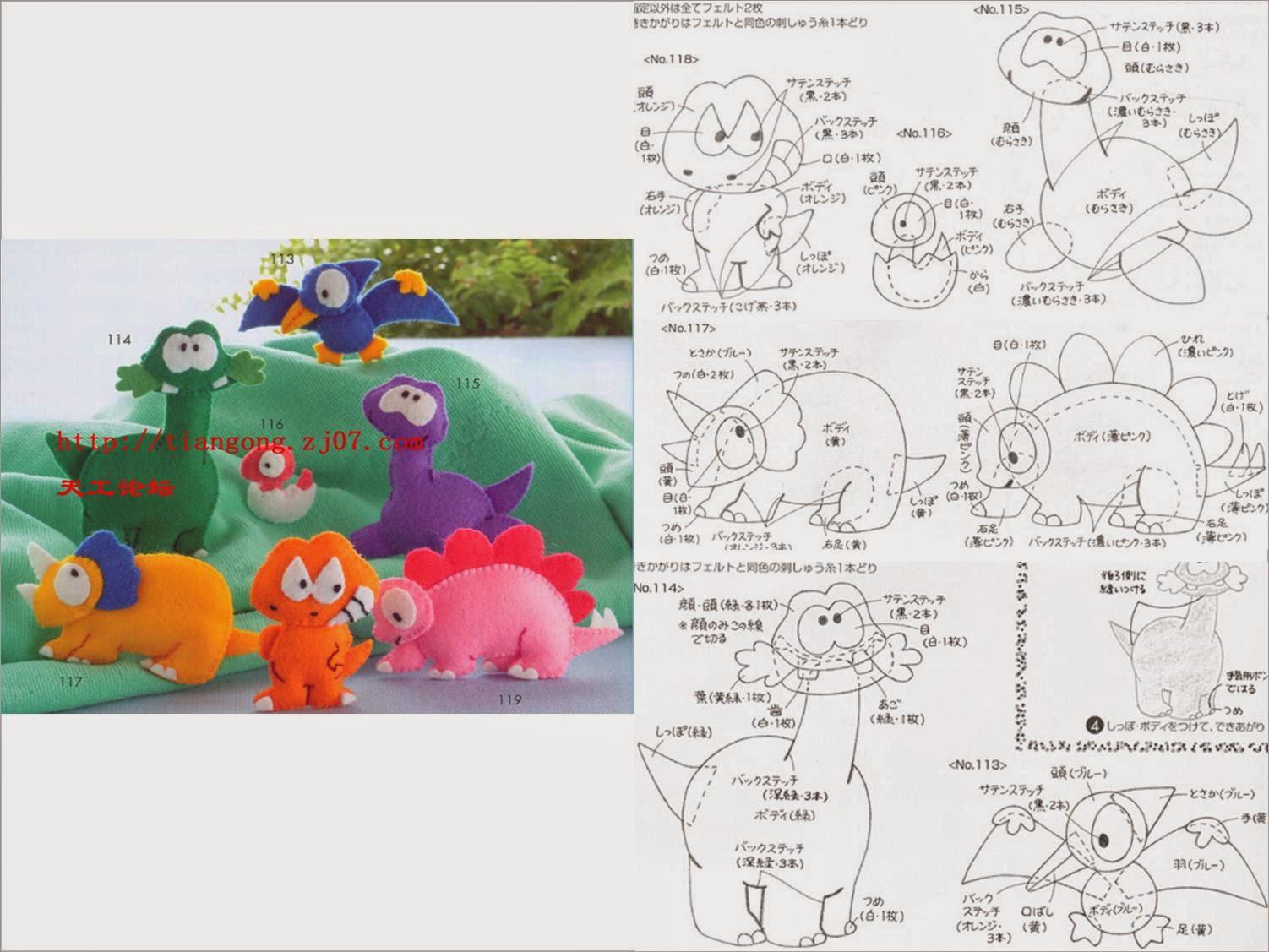 Muito Artesanato com amorby Lu Guimarães: Molde Dinosauro em tecido e  PY89