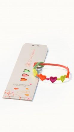 packaging braccialetti cruciani cuore multicolor fluo