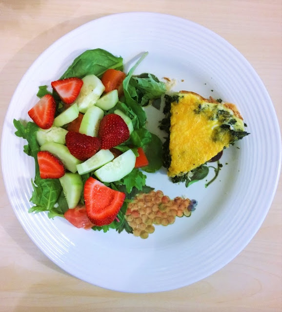 Cheddar cheese and spinach quiche delicious with salad