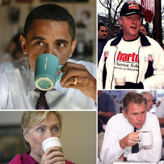 obama, clinton, politicians drink coffee, coffee shop, politic and coffee