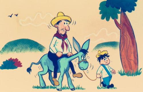 O fazendeiro, seu filho e o burro