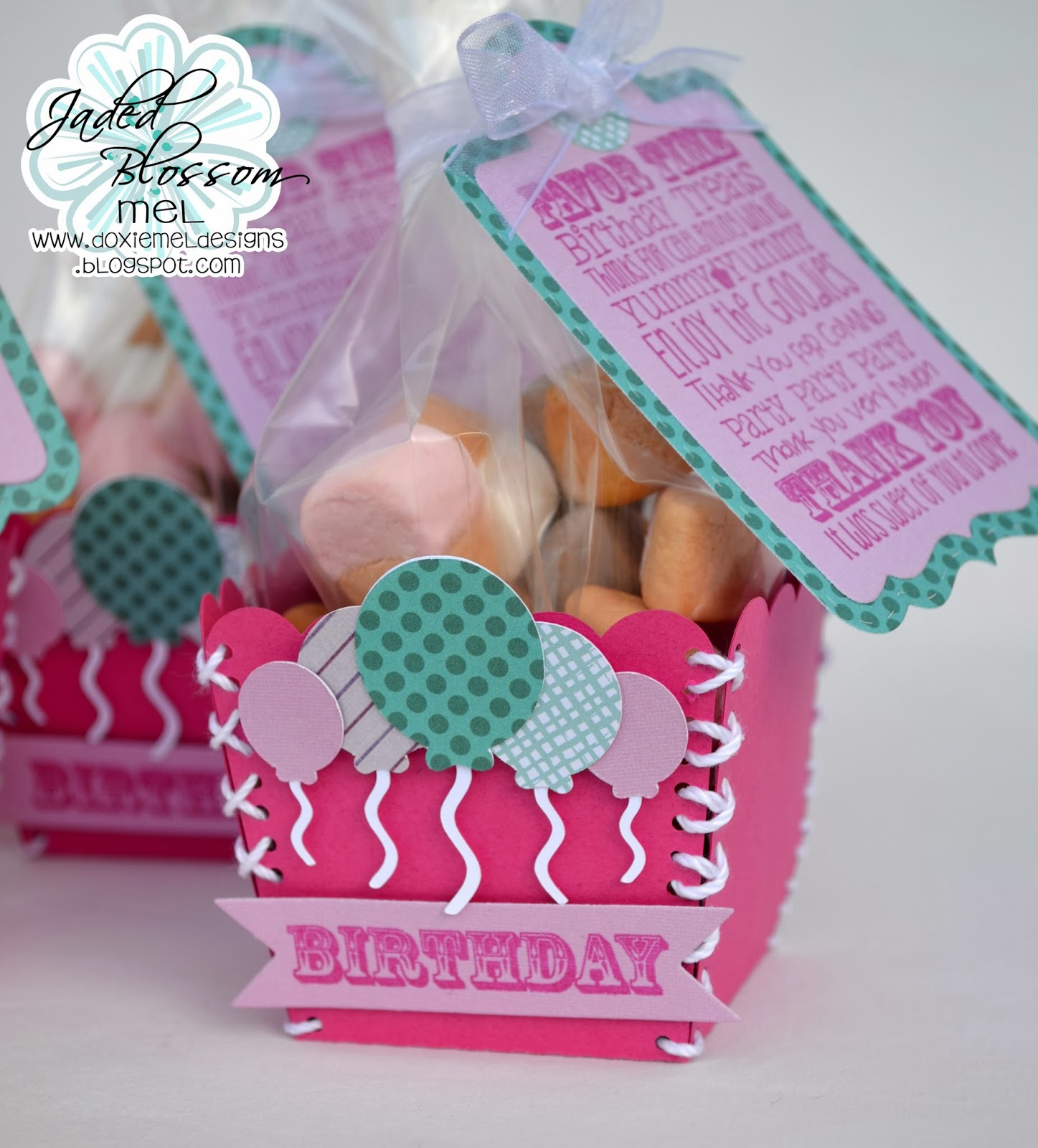 Doxie Mel Designs: Jaded Blossom Sneak - Day 2 :: Birthday Favors