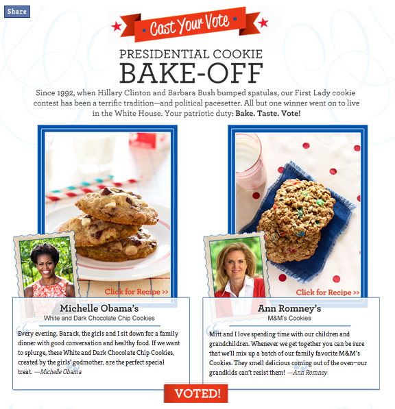 family circle's 2012 presidential cookie bake-off, michelle obama, ann romney