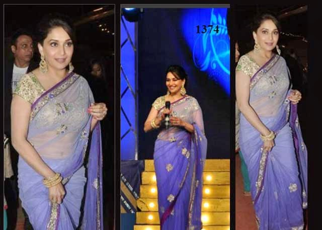 1374 - Madhuri Dixit in Beautiful Magenta Designer Embrodiery Net Saree at Police Umang Show 2014