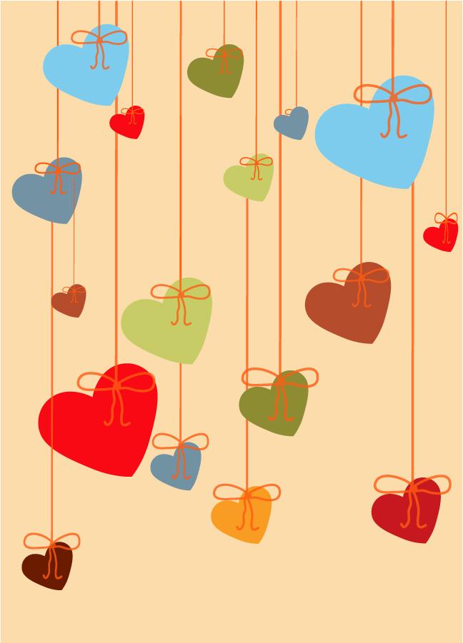 吊り下げたカラフルなハート valentine's day hanging heart イラスト素材