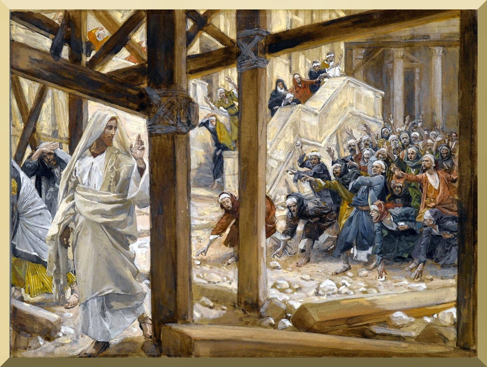 """The Jews Took Up Rocks to Stone Jesus"" -- by James Tissot"