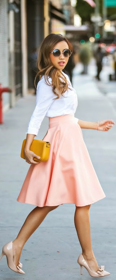 Pink Chic High Waist Skirt with White Top | Spring Street Outfits