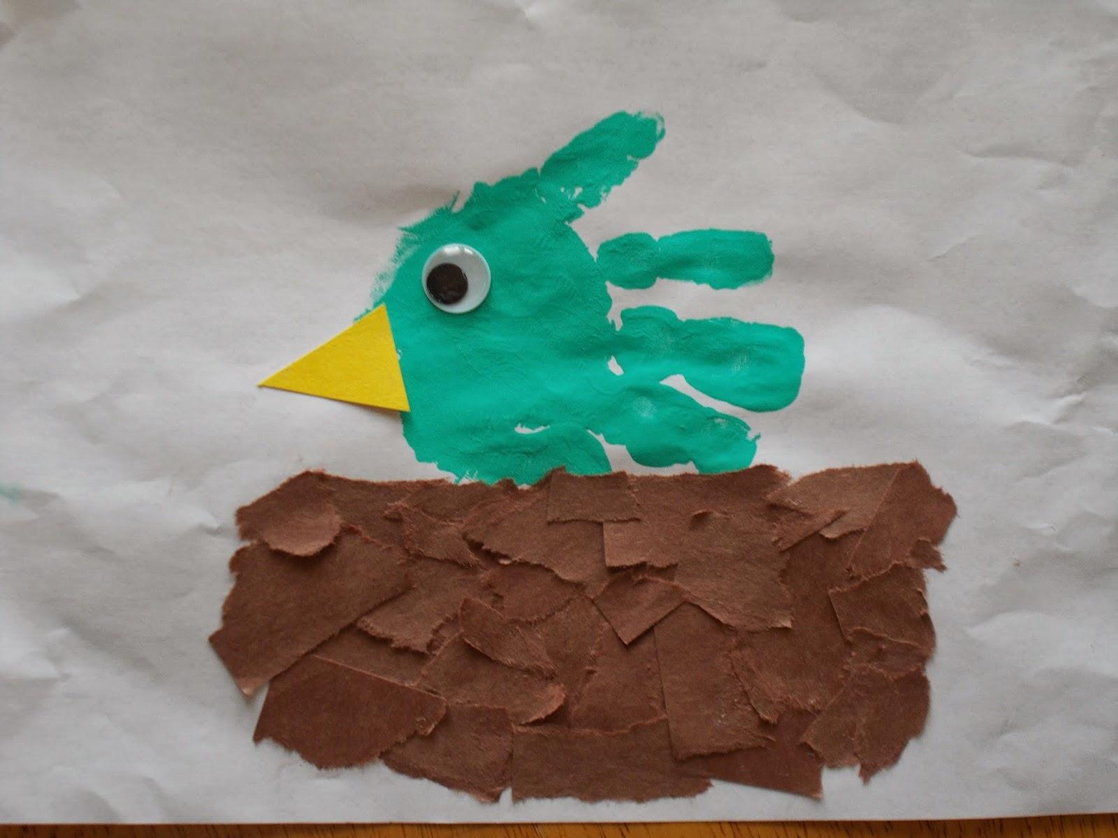 Chipman 39 s corner preschool handprint bird in nest for Birds project