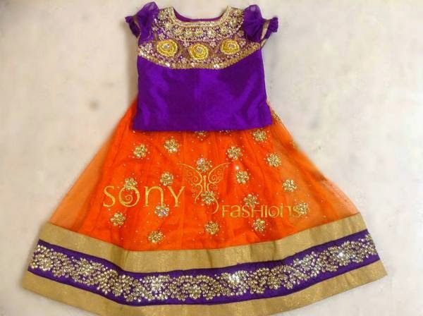 Orange and Purple Kundan Skirt