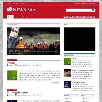 News Site blogger template. image slider blogger template. 4 column footer template blog. magazine style blogger template