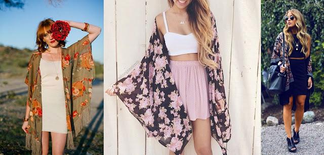Kimono com saia e vestido