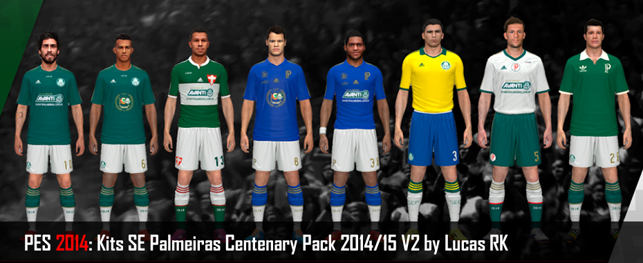 PES 2014: Kits SE Palmeiras Centenary Pack 2014/15 V2 by Lucas RK