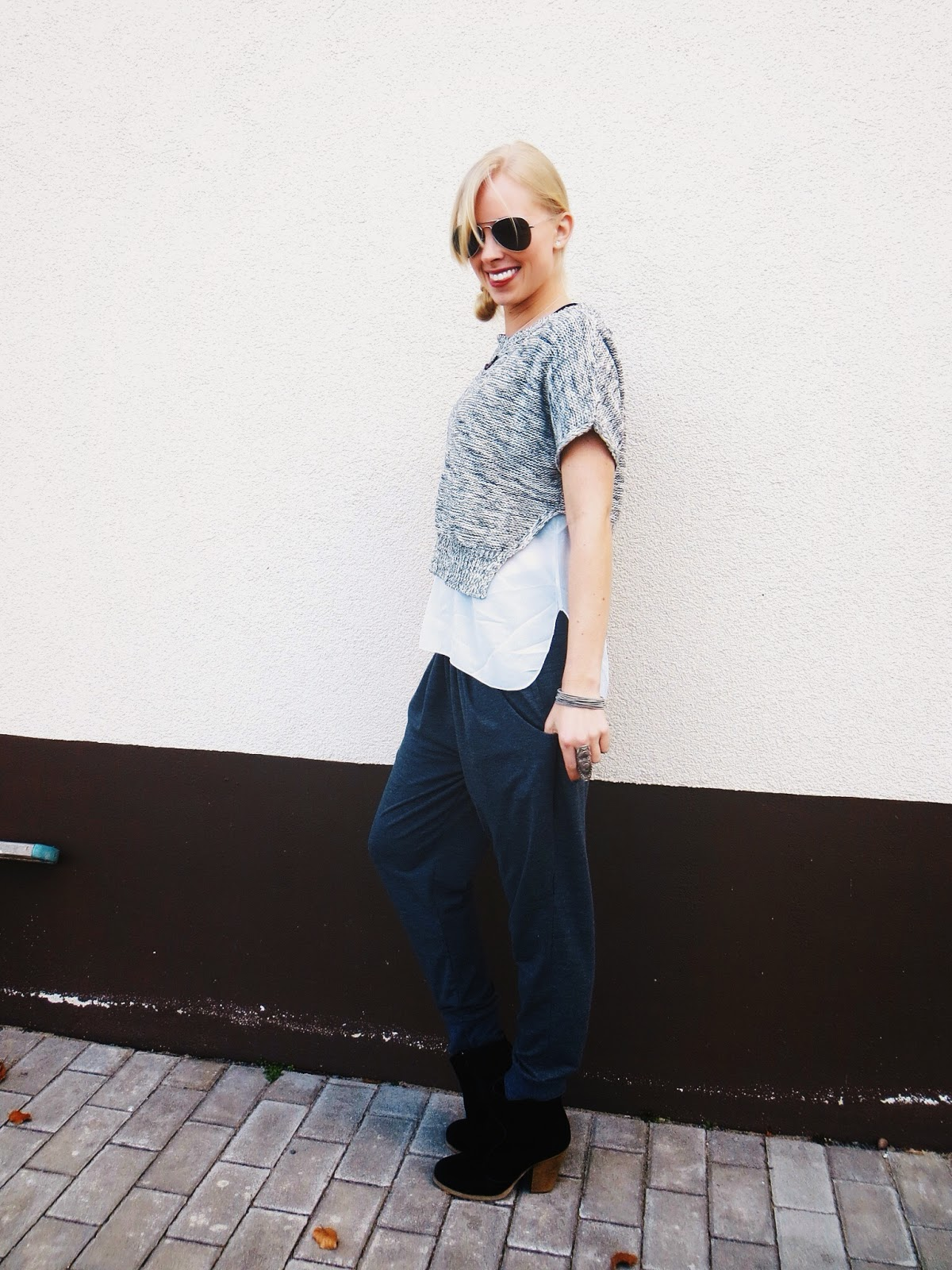 the quarrier tourmaline necklace, deb hi low sweater, amy waltz designs crescent moon ring, freyrs sunglasses, harem pants, casual outfit, shades of grey, monochrome