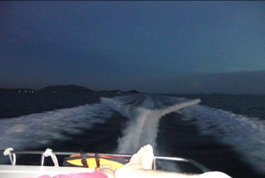 Phosphorescent wake of the Yatch at Koh Samui