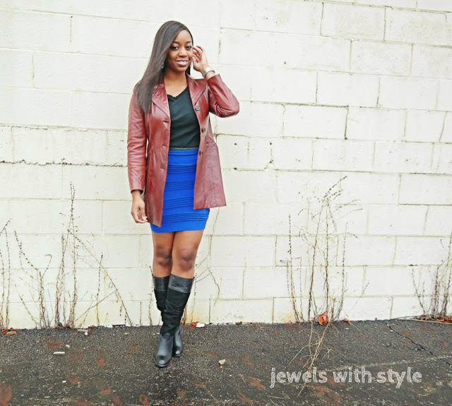 wear a skirt in the winter, how to wear summer skirt in the winter, transition your summer clothes to winter, skirt and boots, leather and suede boots, blue bodycon skirt, brown leather jacket outfit, wearing brown and black together, winter skirt outfit, jewels with style, black fashion blogger