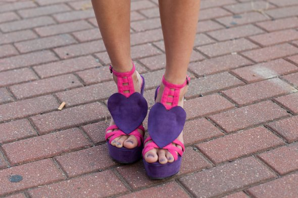 pink and purple heels, charlotte street style fashion, womens shoes,
