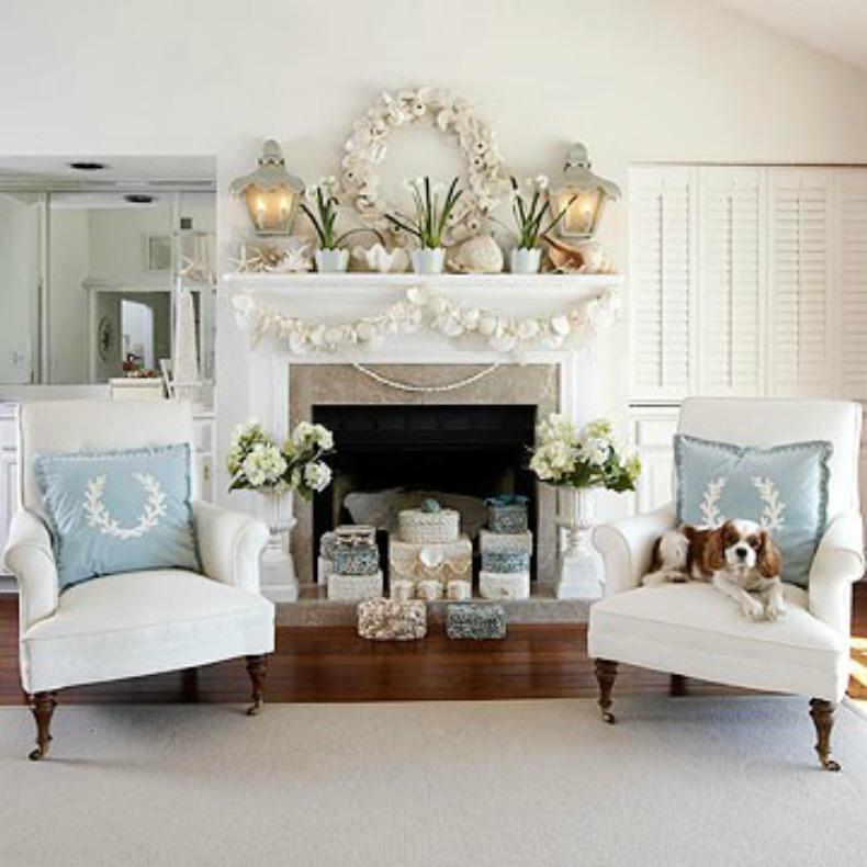 Inspirations on the horizon coastal holiday decor for Living room xmas ideas