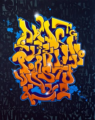 Graffiti Alphabet: A-Z Letter canvas for home decoration design