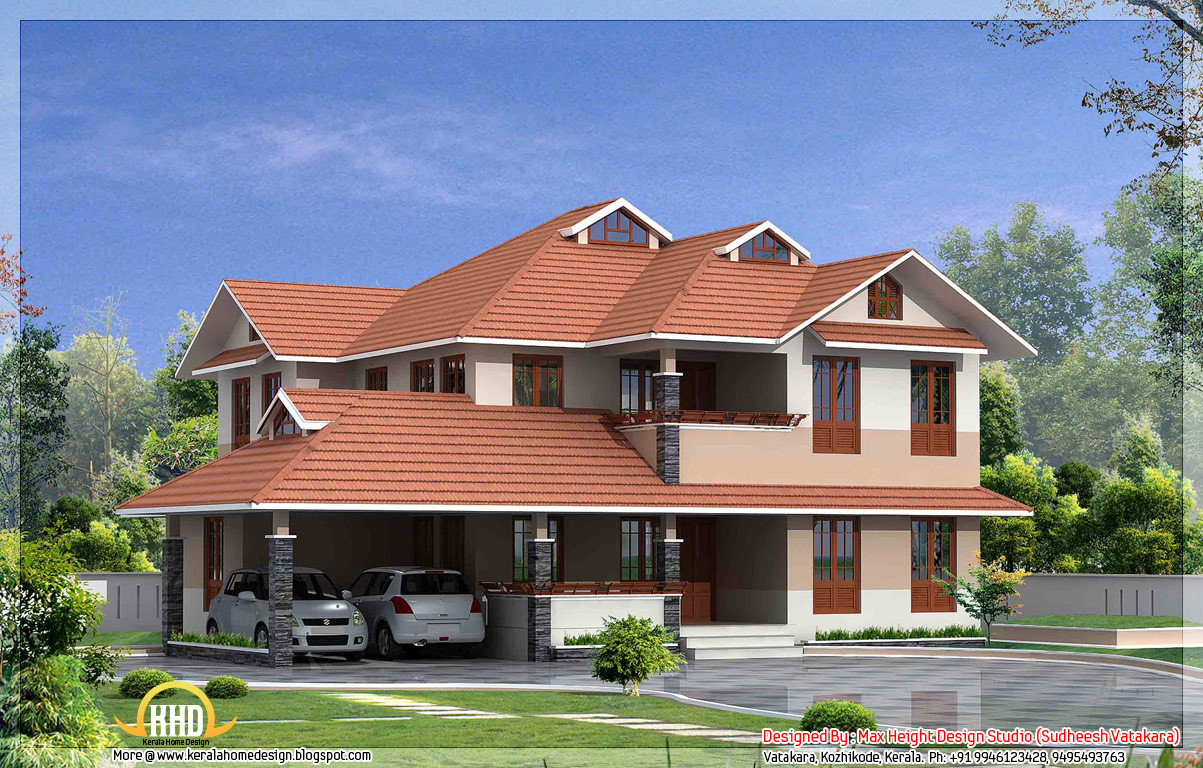 7 beautiful kerala style house elevations indian house plans for Beautiful kerala house plans