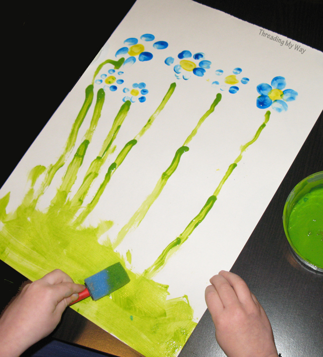 Thumb Printing with Kids... a quick, fun way to paint flowers ~ Threading My Way