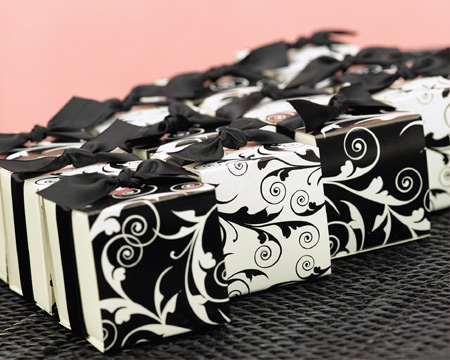 My wedding favors etc black and white wedding theme black white decorative black and white flourish design favor boses from my wedding favors etc junglespirit Choice Image