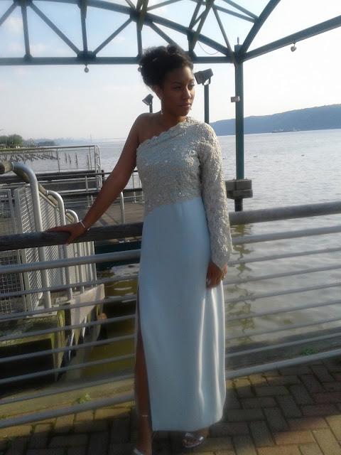 ivory silk and lace prom dress