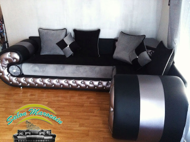 Salon marocain moderne noir gris