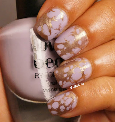 NailaDay: Love and Beauty Lavender with Gold water spotted design
