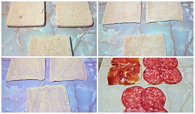 Preparación de los mini espirales de pan de molde