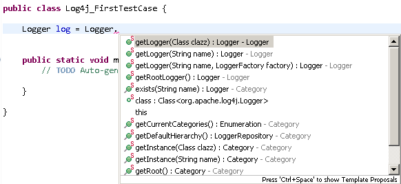 Log4j logger object