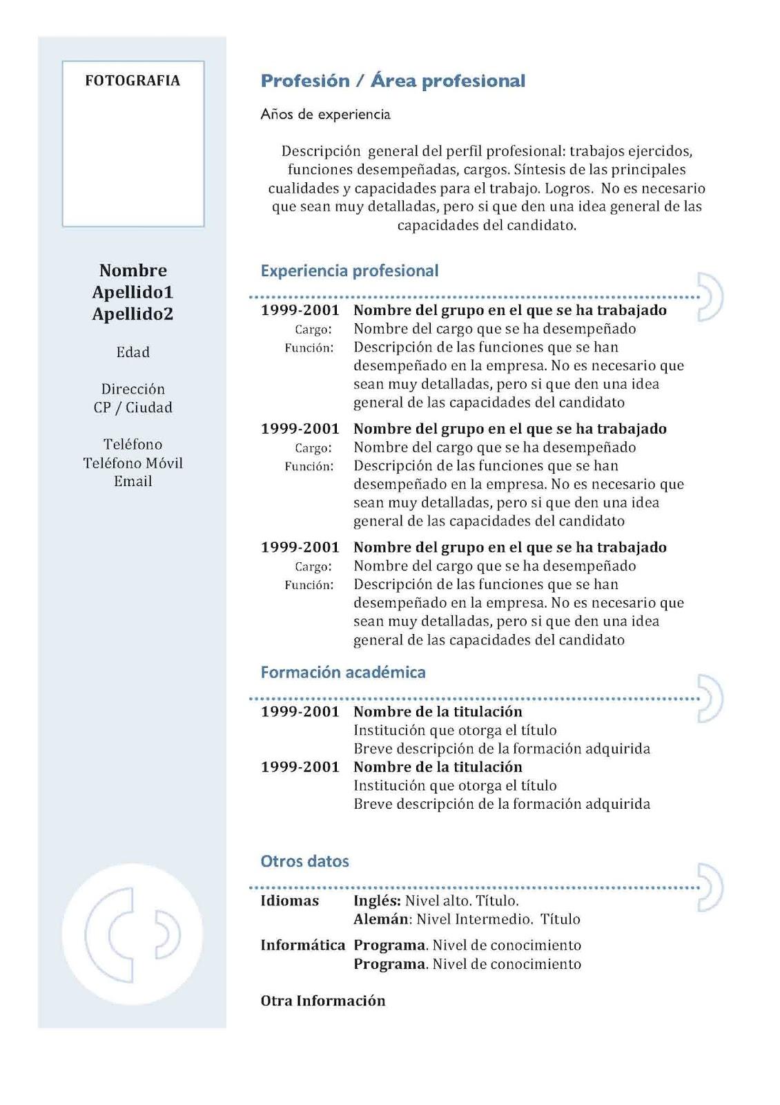 1ro Pamer Izaguirre: Modelos de Curriculum Vitae
