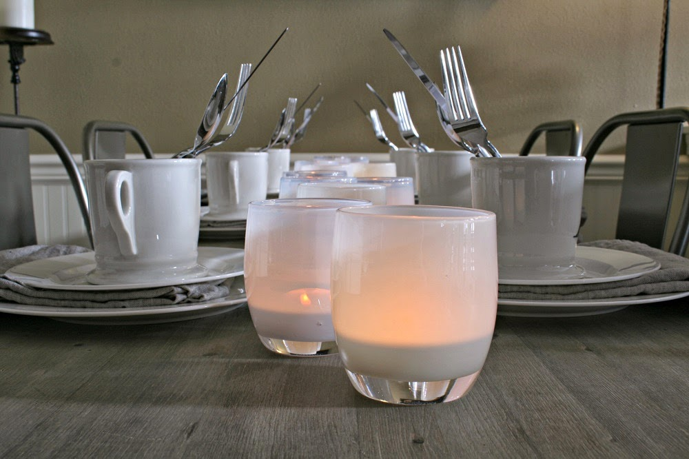Glassybaby Whites, Simple Clean Tablescpape, Industrial Chic